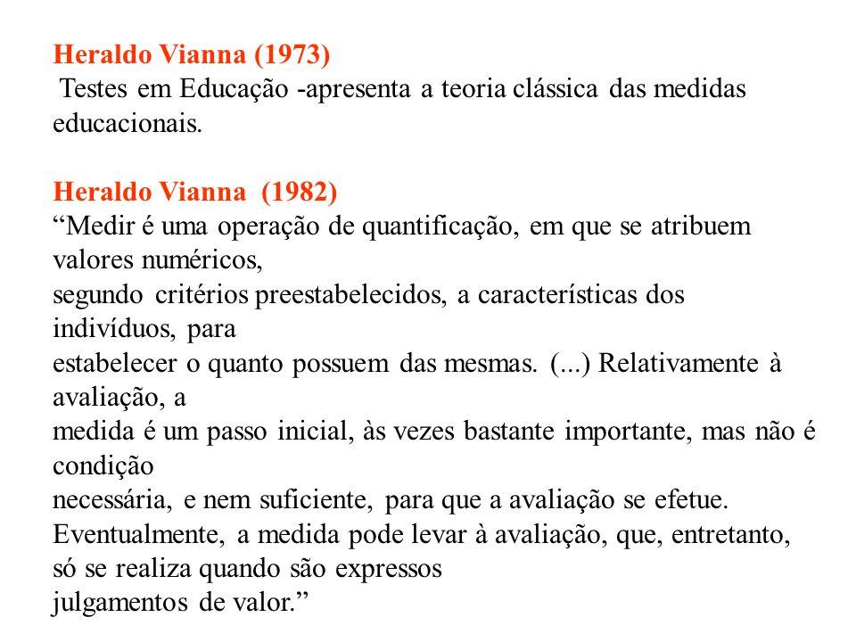 Heraldo Vianna (1973) Testes em Educação -apresenta a teoria clássica das medidas educacionais. Heraldo Vianna (1982)