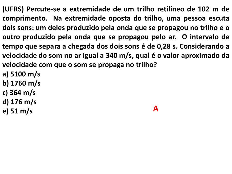 (UFRS) Percute-se a extremidade de um trilho retilíneo de 102 m de comprimento. Na extremidade oposta do trilho, uma pessoa escuta dois sons: um deles produzido pela onda que se propagou no trilho e o outro produzido pela onda que se propagou pelo ar. O intervalo de tempo que separa a chegada dos dois sons é de 0,28 s. Considerando a velocidade do som no ar igual a 340 m/s, qual é o valor aproximado da velocidade com que o som se propaga no trilho