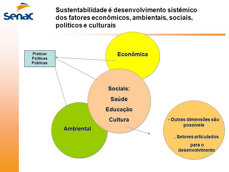 Sustentabilidade é desenvolvimento sistêmico dos fatores econômicos, ambientais, sociais, políticos e culturais