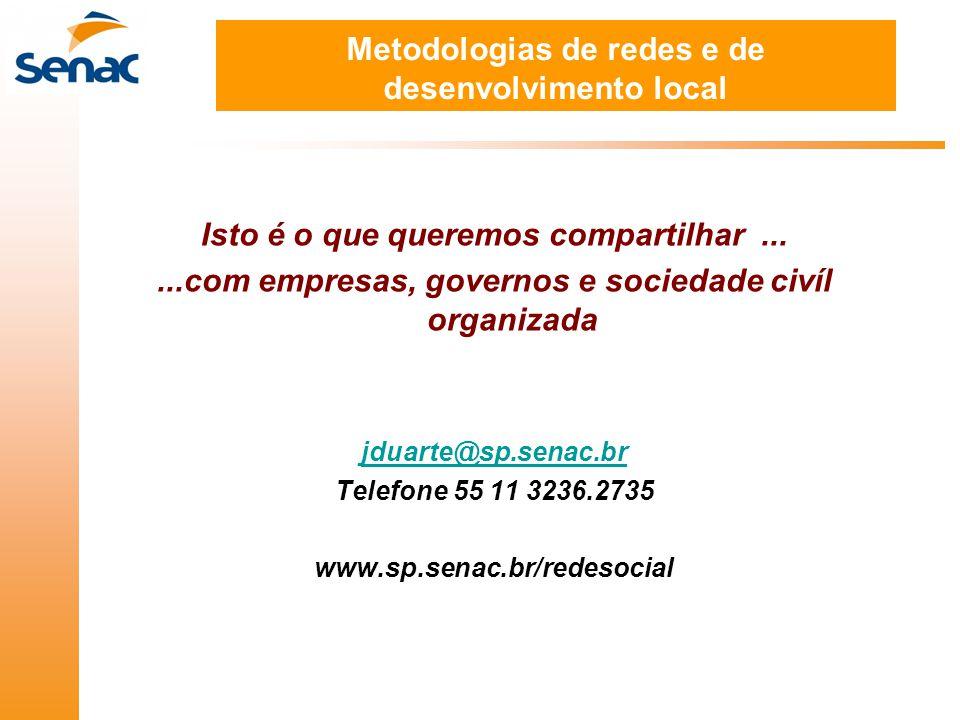 Metodologias de redes e de desenvolvimento local