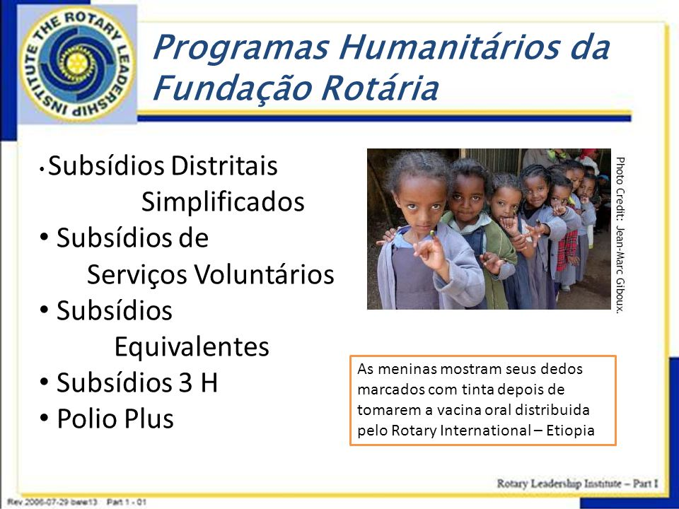 Programas Humanitários da Fundação Rotária