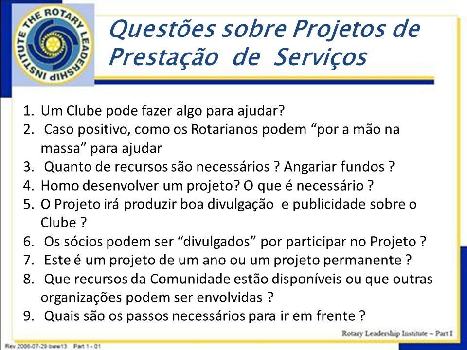 Questões sobre Projetos de Prestação de Serviços