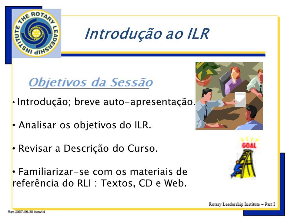 Introdução ao ILR Analisar os objetivos do ILR.