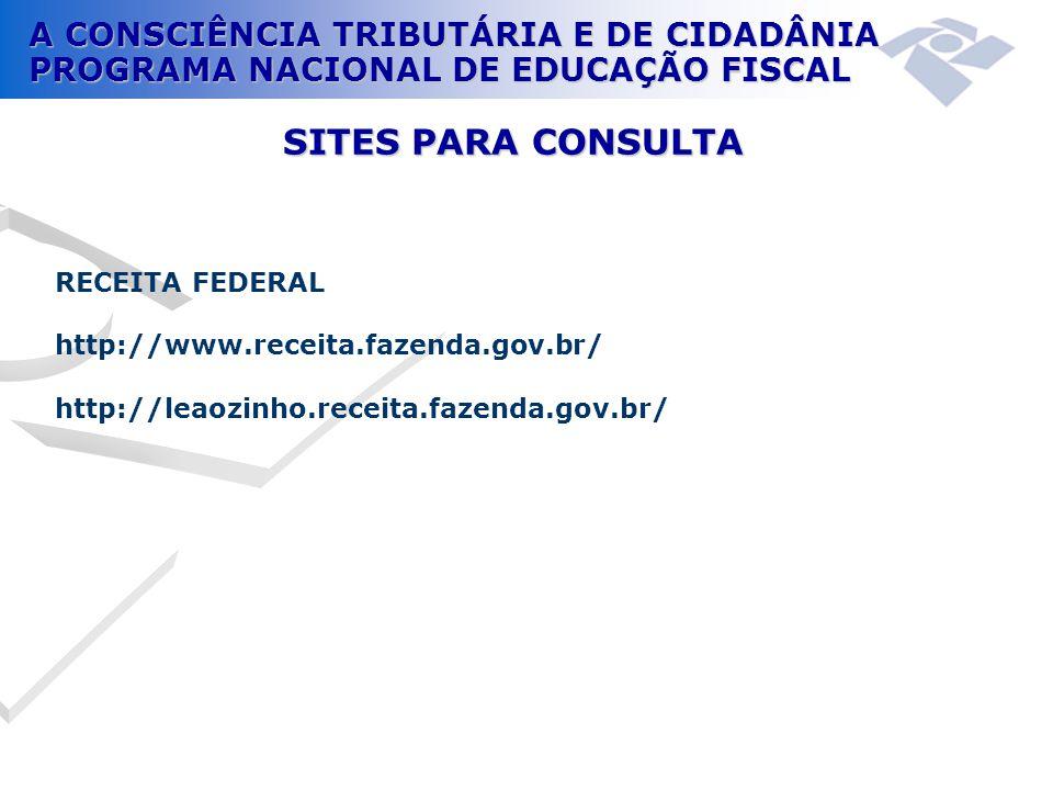 SITES PARA CONSULTA RECEITA FEDERAL http://www.receita.fazenda.gov.br/