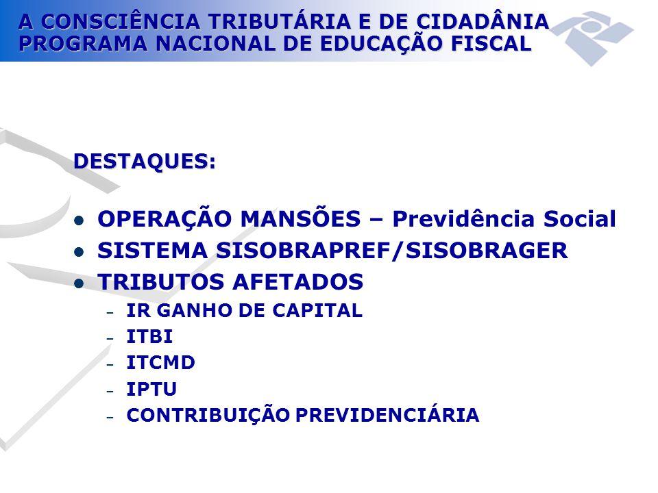 OPERAÇÃO MANSÕES – Previdência Social SISTEMA SISOBRAPREF/SISOBRAGER