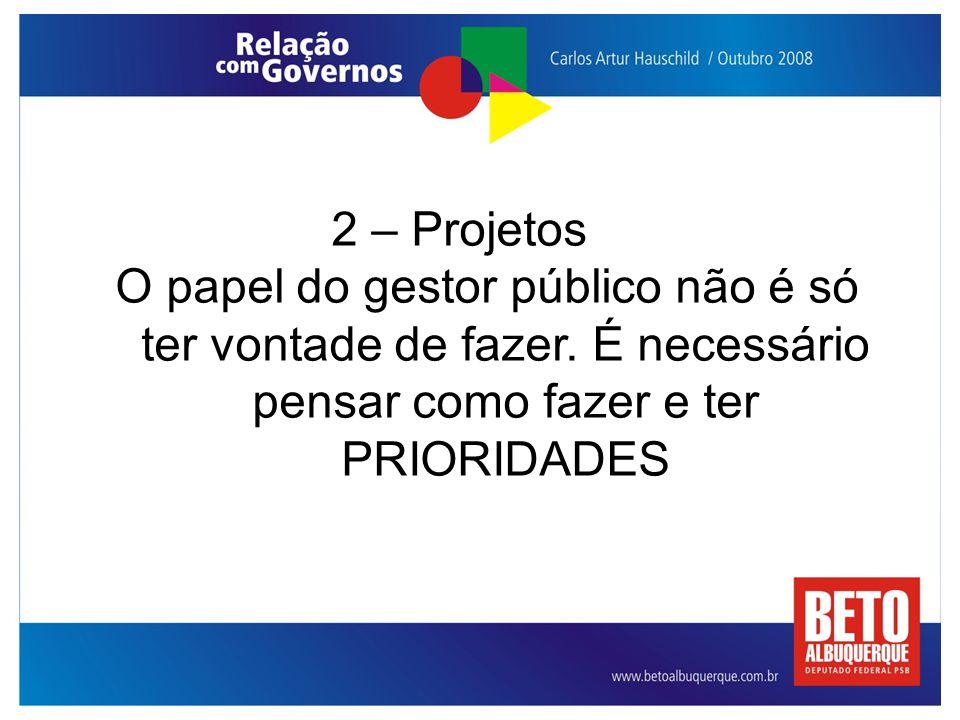 2 – Projetos O papel do gestor público não é só ter vontade de fazer.