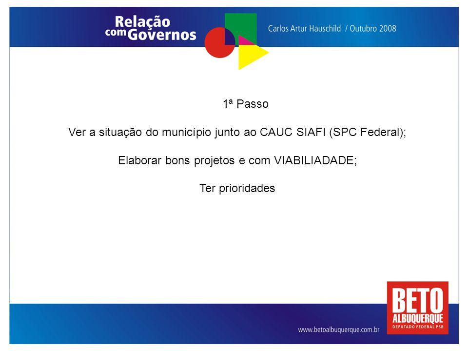 Ver a situação do município junto ao CAUC SIAFI (SPC Federal);