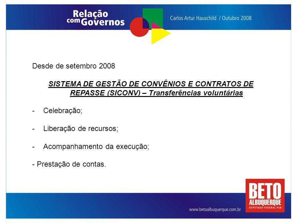 Desde de setembro 2008 SISTEMA DE GESTÃO DE CONVÊNIOS E CONTRATOS DE REPASSE (SICONV) – Transferências voluntárias.