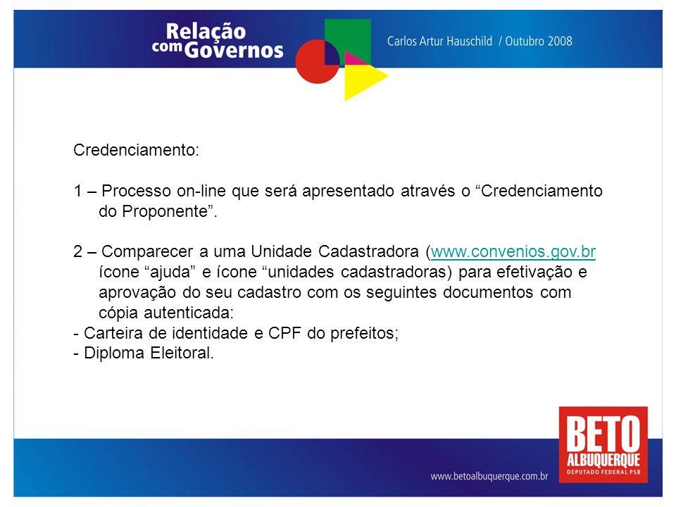 Credenciamento: 1 – Processo on-line que será apresentado através o Credenciamento do Proponente .