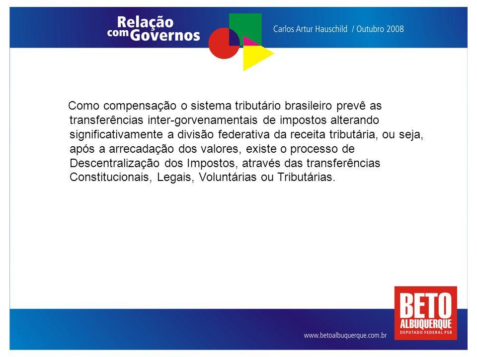 Como compensação o sistema tributário brasileiro prevê as transferências inter-gorvenamentais de impostos alterando significativamente a divisão federativa da receita tributária, ou seja, após a arrecadação dos valores, existe o processo de Descentralização dos Impostos, através das transferências Constitucionais, Legais, Voluntárias ou Tributárias.