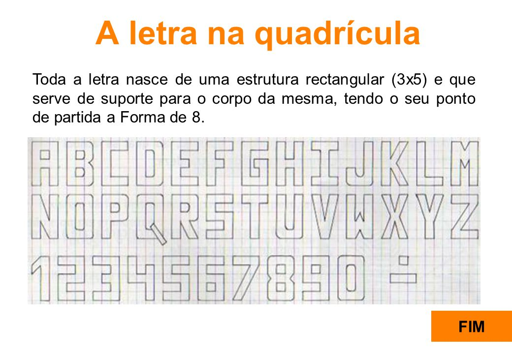 A letra na quadrícula