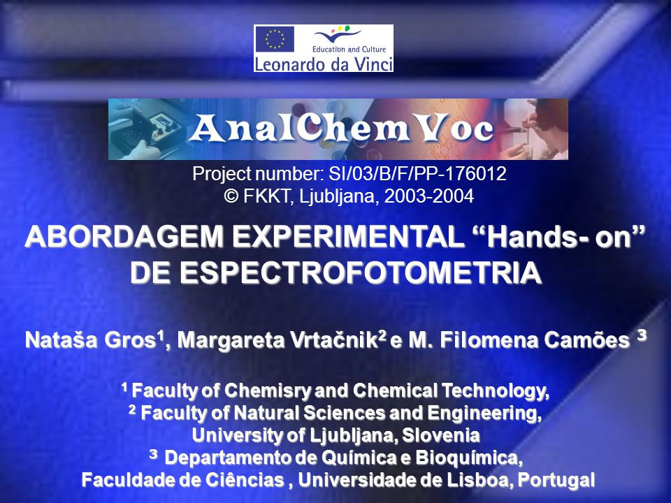 ABORDAGEM EXPERIMENTAL Hands- on DE ESPECTROFOTOMETRIA
