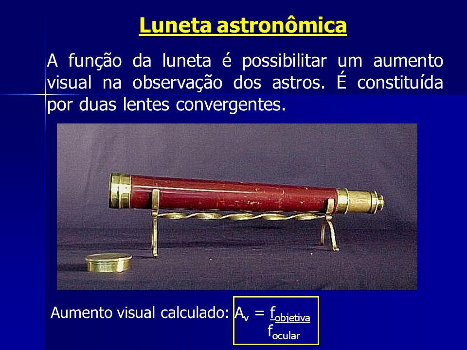 Luneta astronômica A função da luneta é possibilitar um aumento visual na observação dos astros. É constituída por duas lentes convergentes.