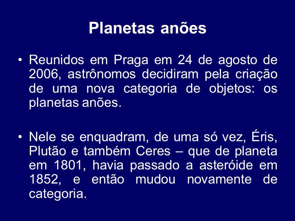 Planetas anões Reunidos em Praga em 24 de agosto de 2006, astrônomos decidiram pela criação de uma nova categoria de objetos: os planetas anões.