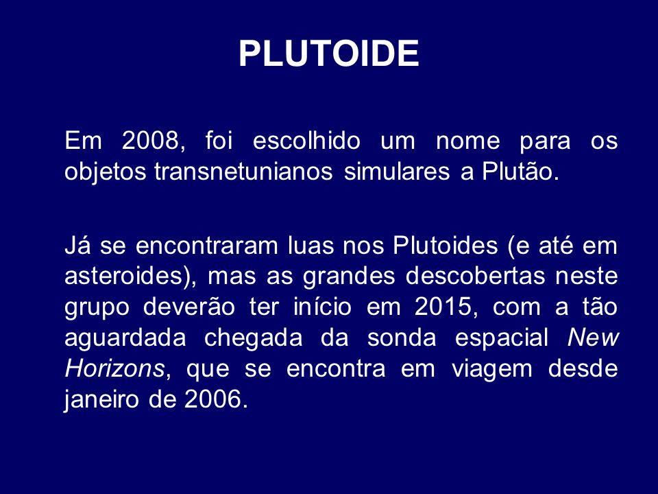 PLUTOIDE Em 2008, foi escolhido um nome para os objetos transnetunianos simulares a Plutão.
