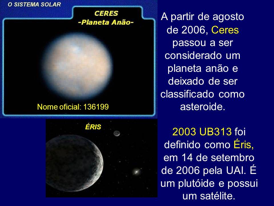A partir de agosto de 2006, Ceres passou a ser considerado um planeta anão e deixado de ser classificado como asteroide.