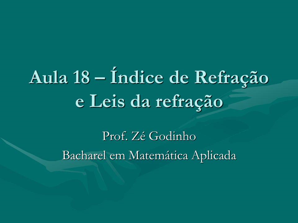 Aula 18 – Índice de Refração e Leis da refração