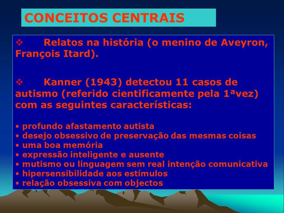 CONCEITOS CENTRAIS Relatos na história (o menino de Aveyron, François Itard).