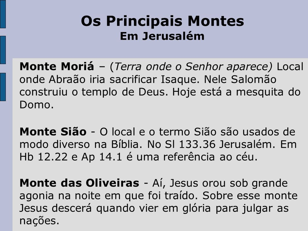 Os Principais Montes Em Jerusalém