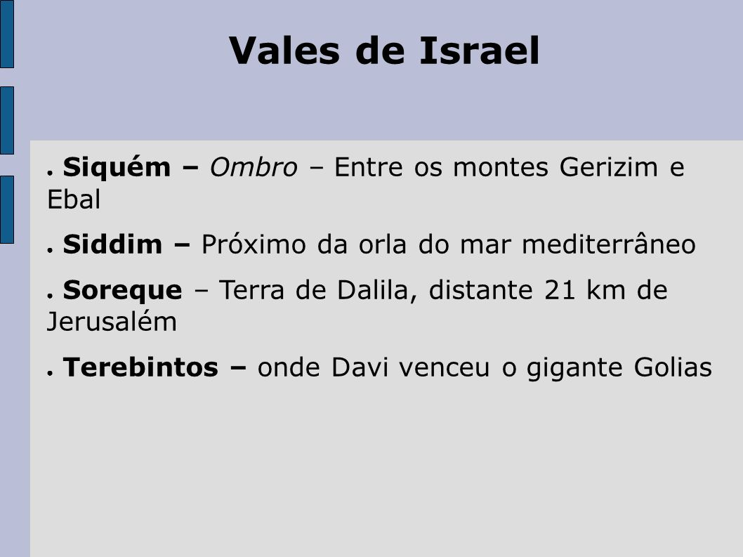 Vales de Israel Siquém – Ombro – Entre os montes Gerizim e Ebal