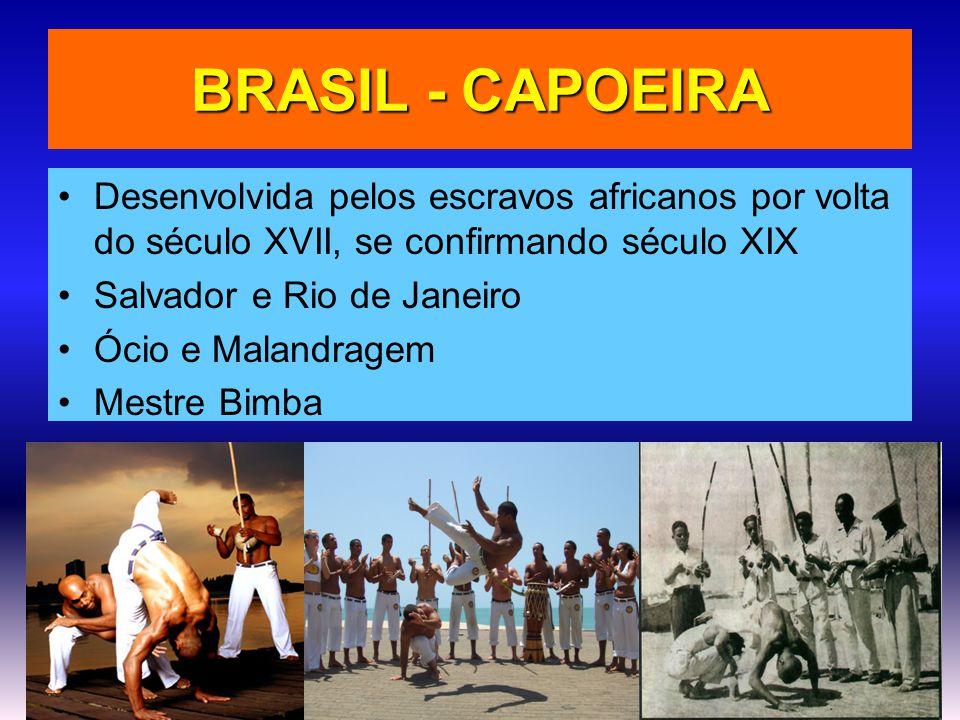 BRASIL - CAPOEIRA Desenvolvida pelos escravos africanos por volta do século XVII, se confirmando século XIX.