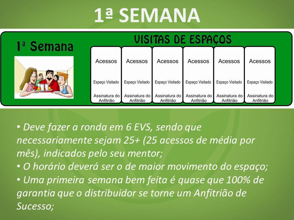 1ª SEMANA Deve fazer a ronda em 6 EVS, sendo que necessariamente sejam 25+ (25 acessos de média por mês), indicados pelo seu mentor;