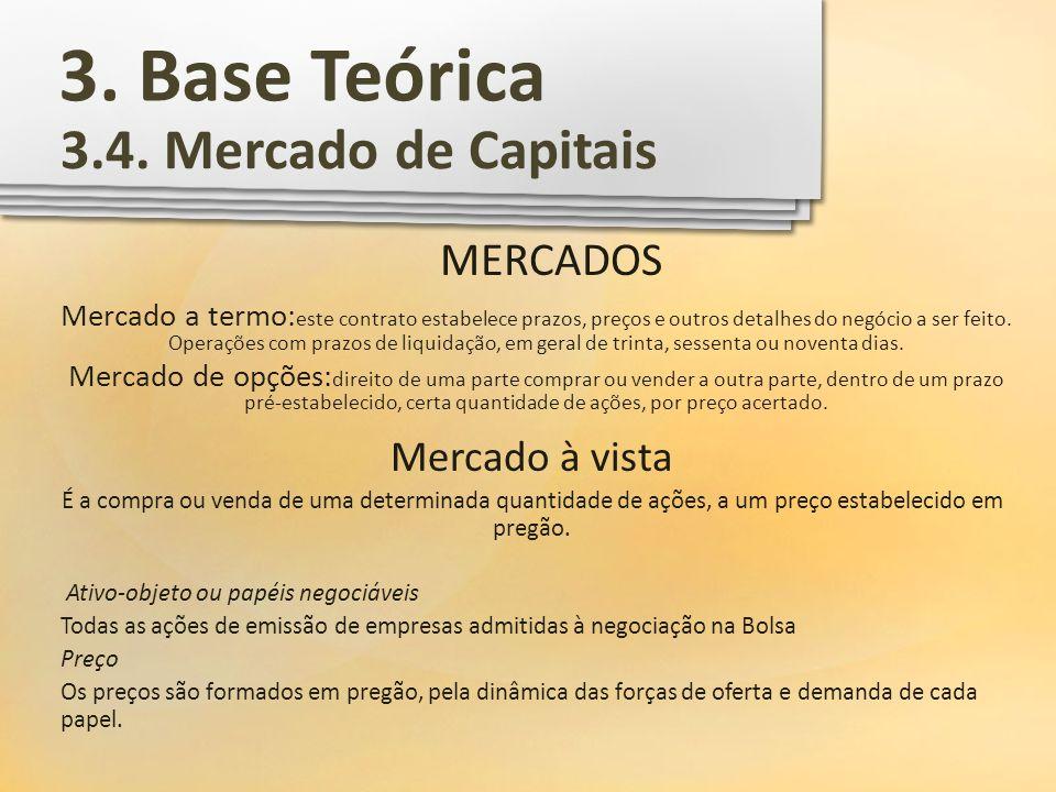 3. Base Teórica 3.4. Mercado de Capitais MERCADOS Mercado à vista
