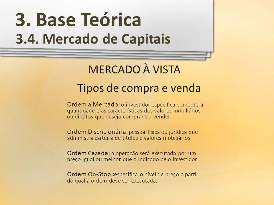 3. Base Teórica 3.4. Mercado de Capitais MERCADO À VISTA