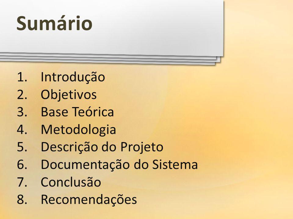 Sumário Introdução Objetivos Base Teórica Metodologia