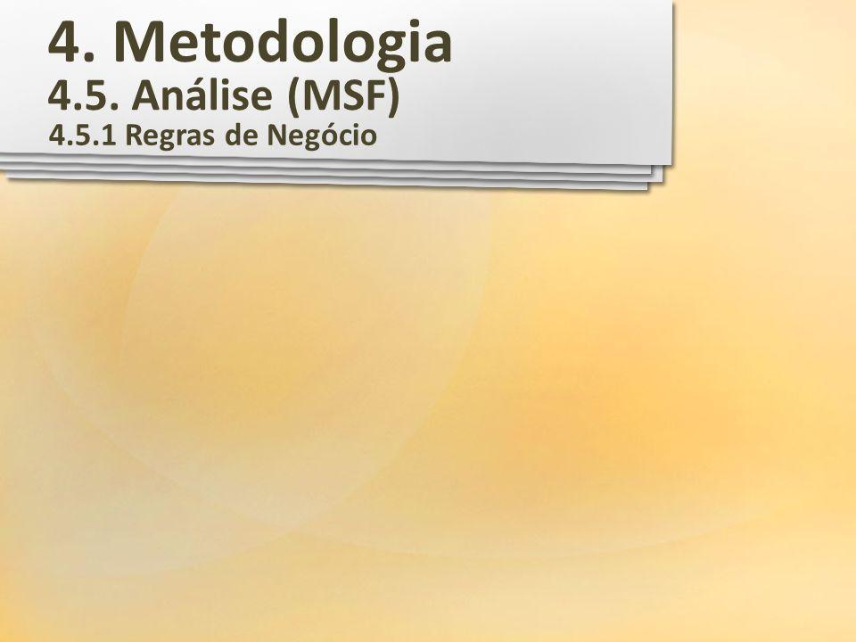 4. Metodologia 4.5. Análise (MSF) 4.5.1 Regras de Negócio