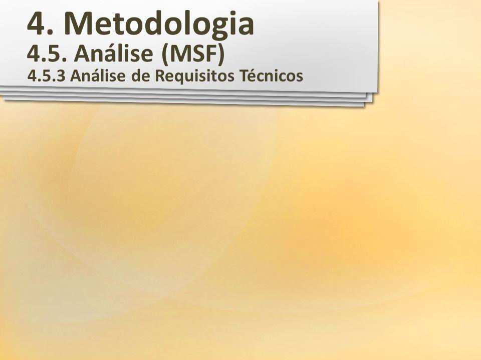 4. Metodologia 4.5. Análise (MSF) 4.5.3 Análise de Requisitos Técnicos
