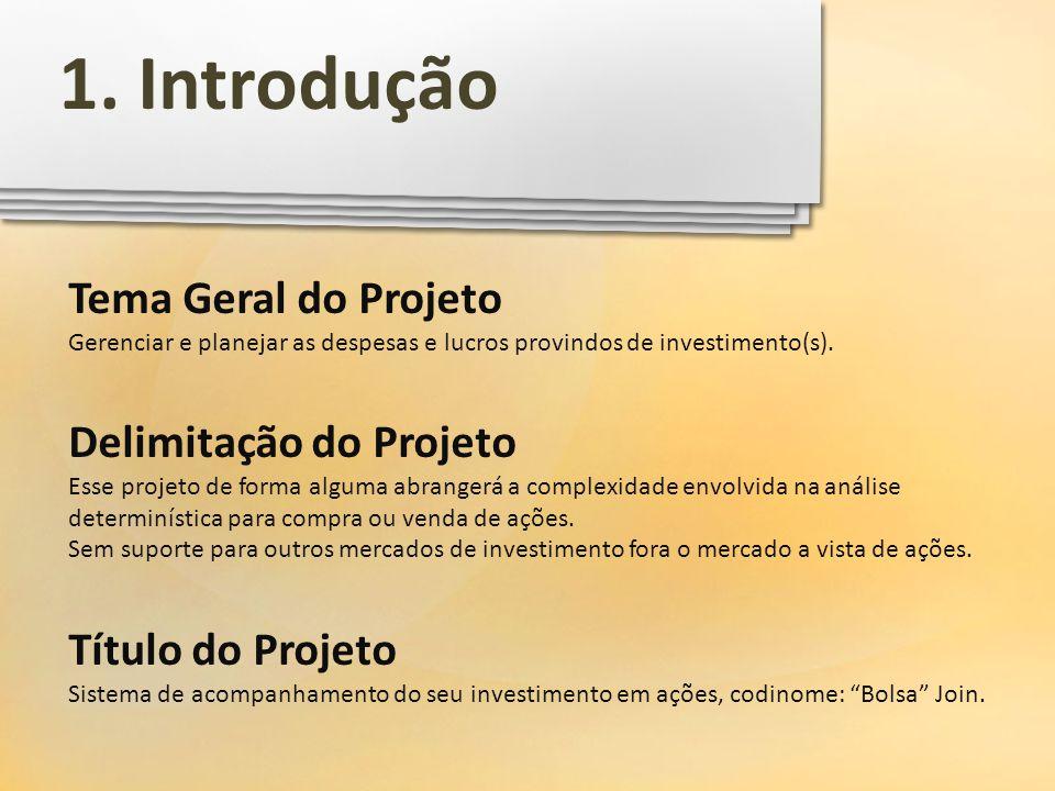 1. Introdução Tema Geral do Projeto Delimitação do Projeto