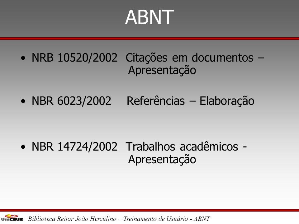 ABNT NRB 10520/2002 Citações em documentos – Apresentação