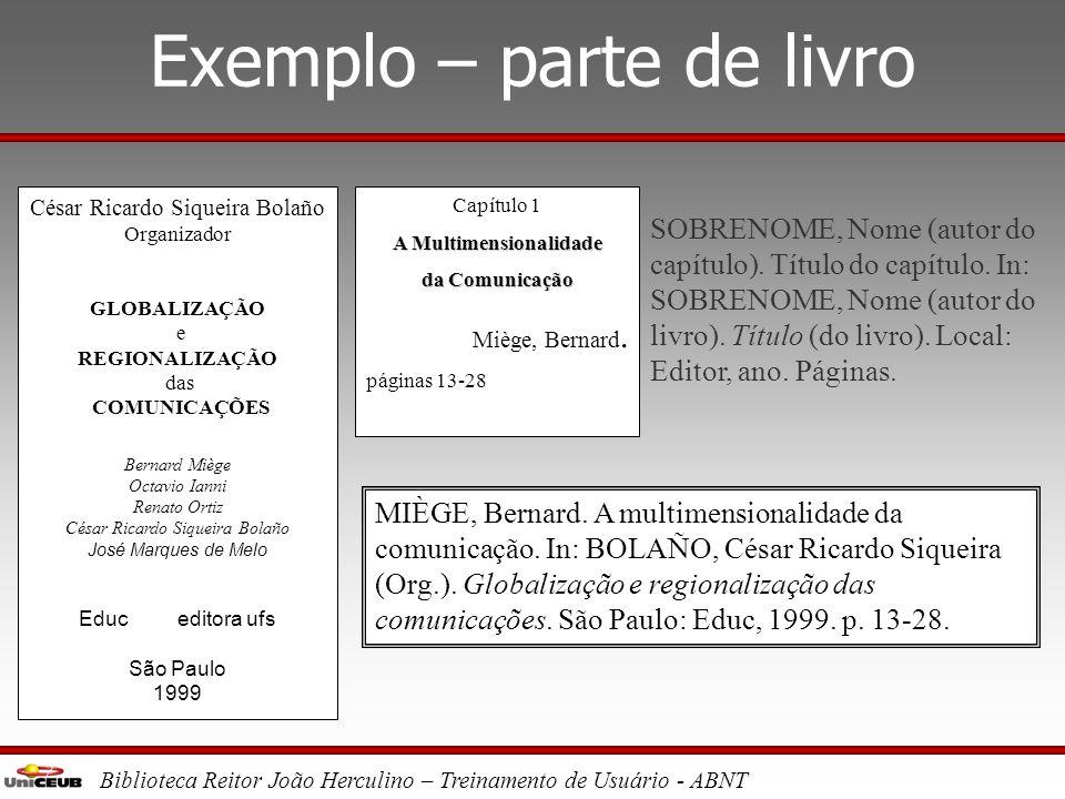 Exemplo – parte de livro