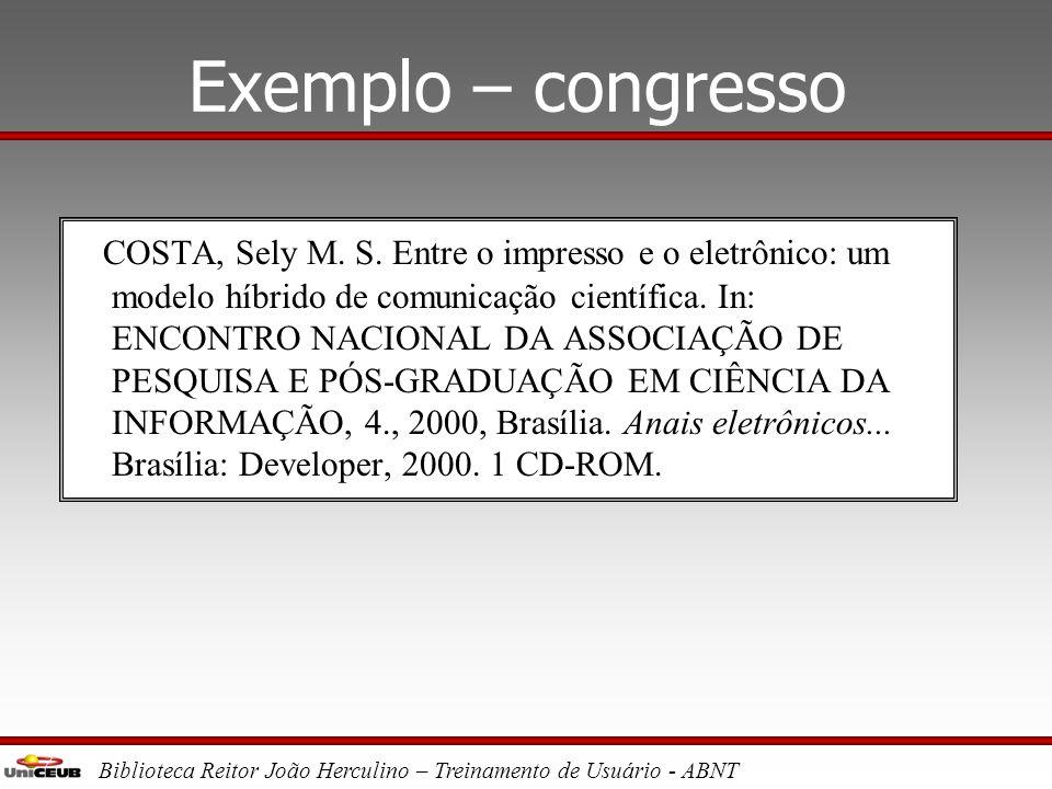 Exemplo – congresso