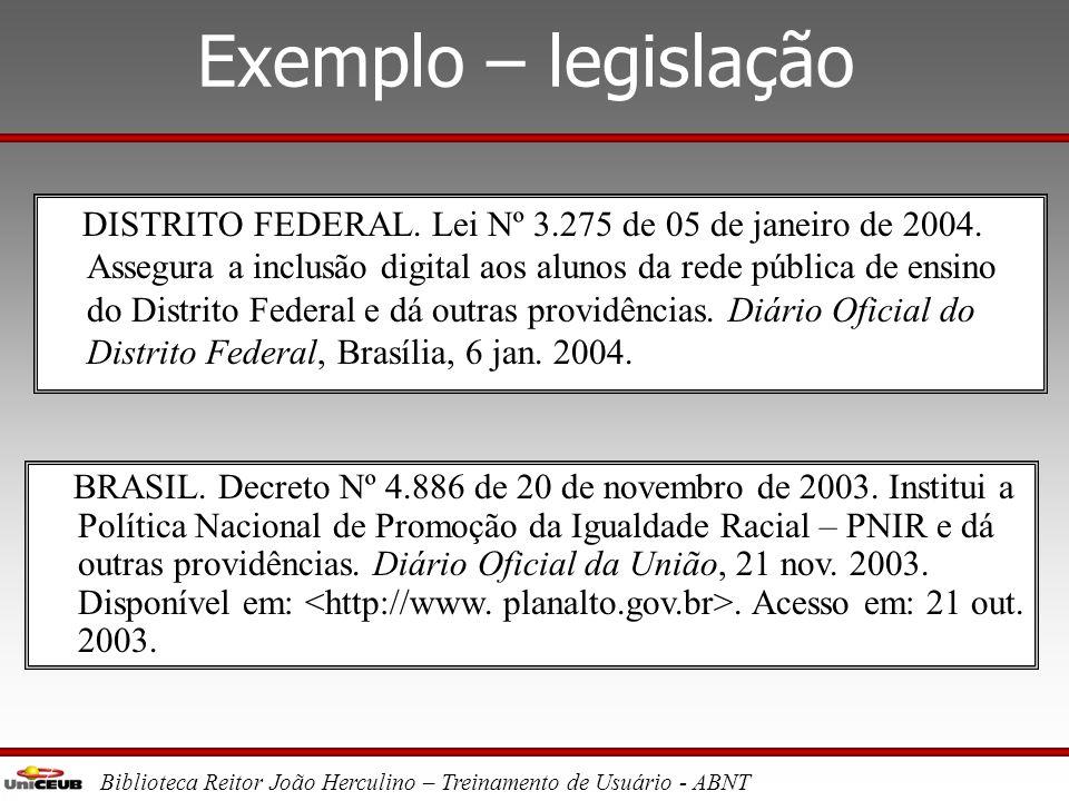 Exemplo – legislação