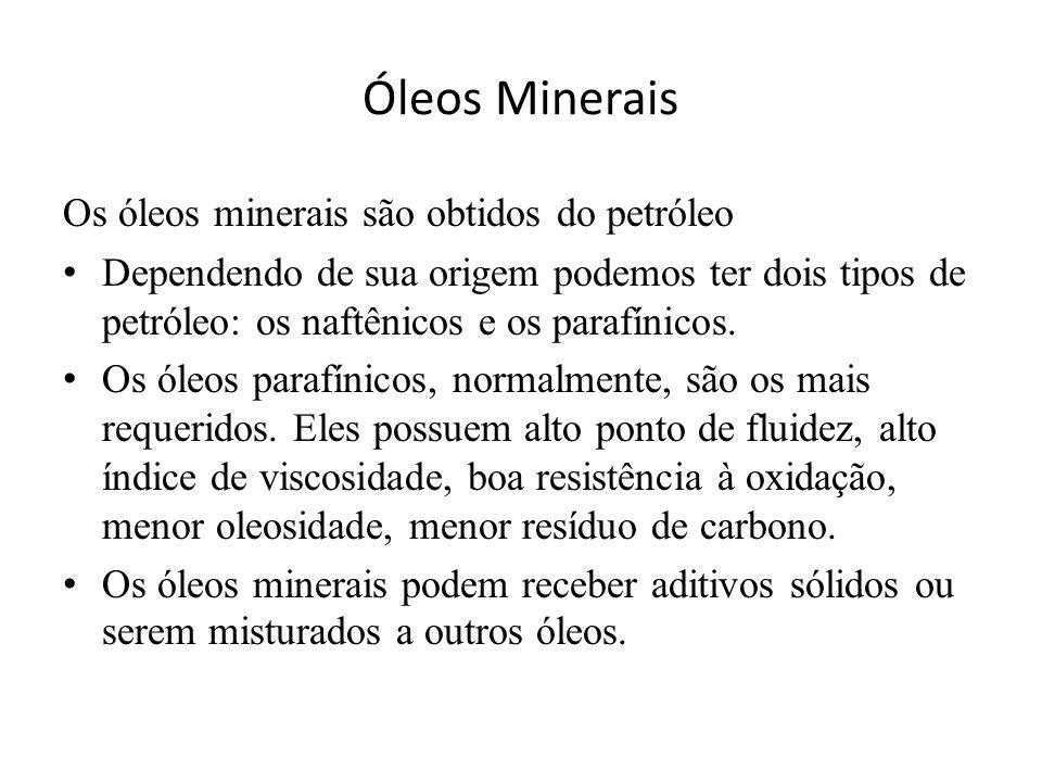 Óleos Minerais Os óleos minerais são obtidos do petróleo