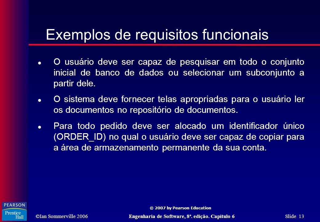 Exemplos de requisitos funcionais