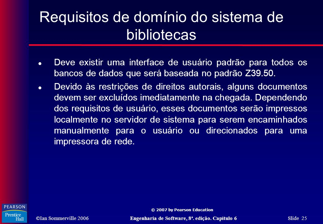 Requisitos de domínio do sistema de bibliotecas