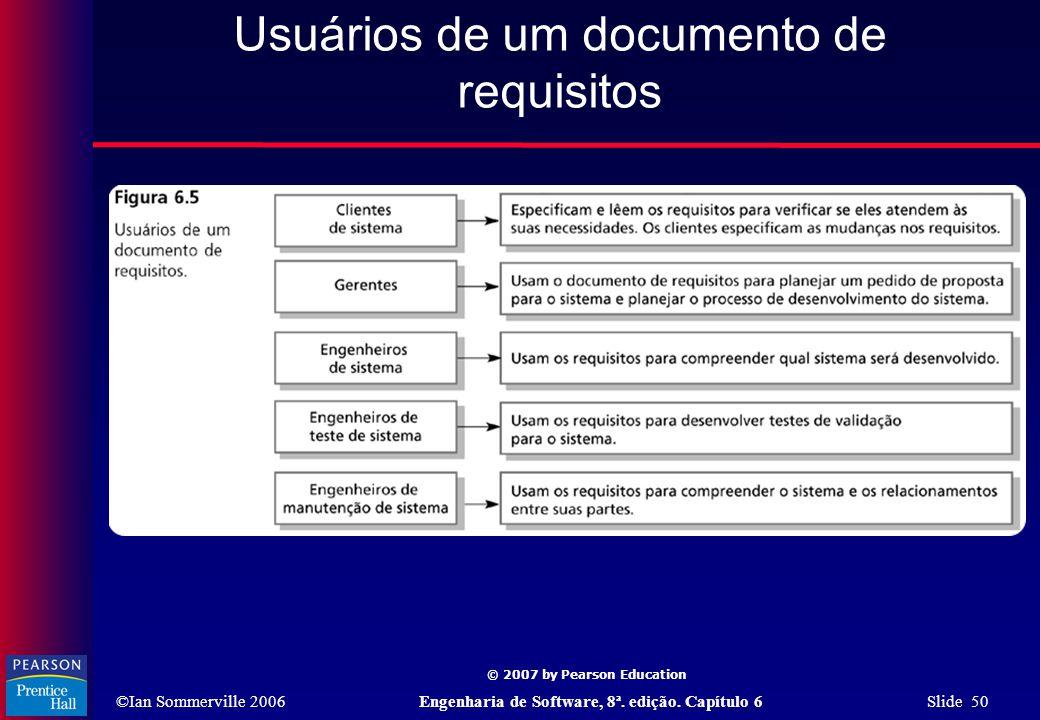 Usuários de um documento de requisitos