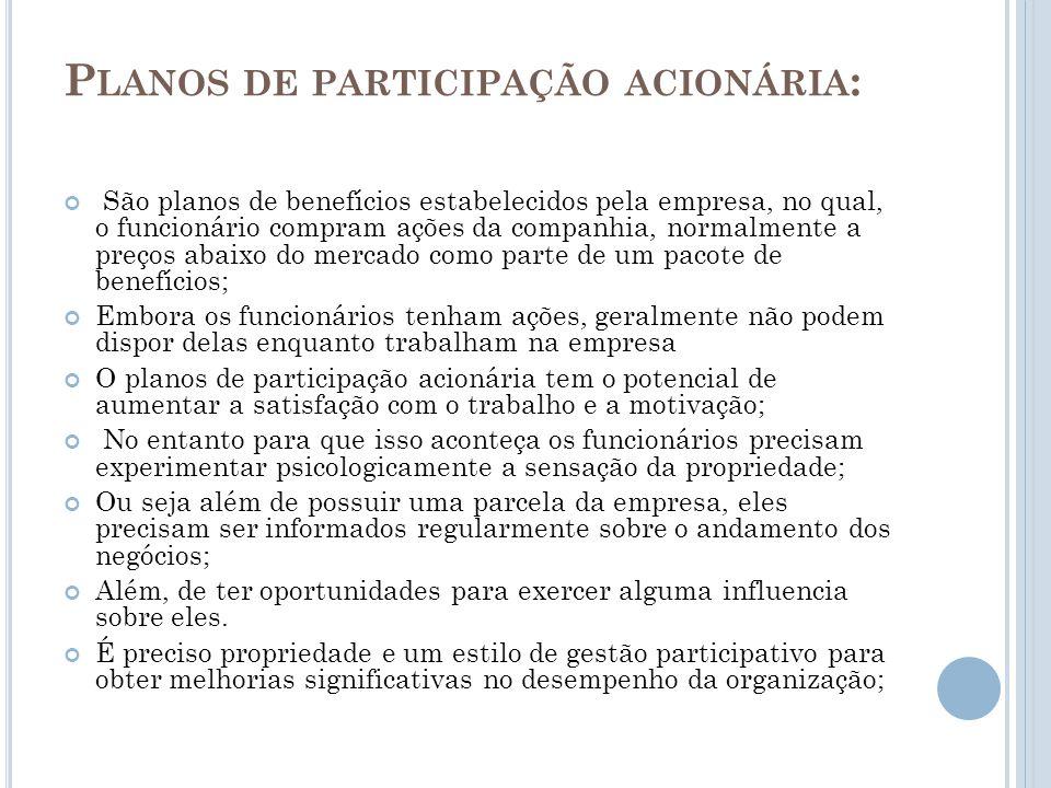 Planos de participação acionária:
