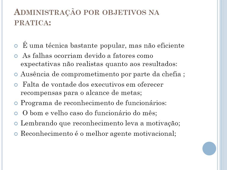 Administração por objetivos na pratica: