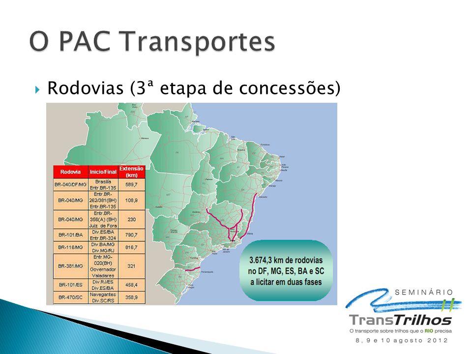 O PAC Transportes Rodovias (3ª etapa de concessões)