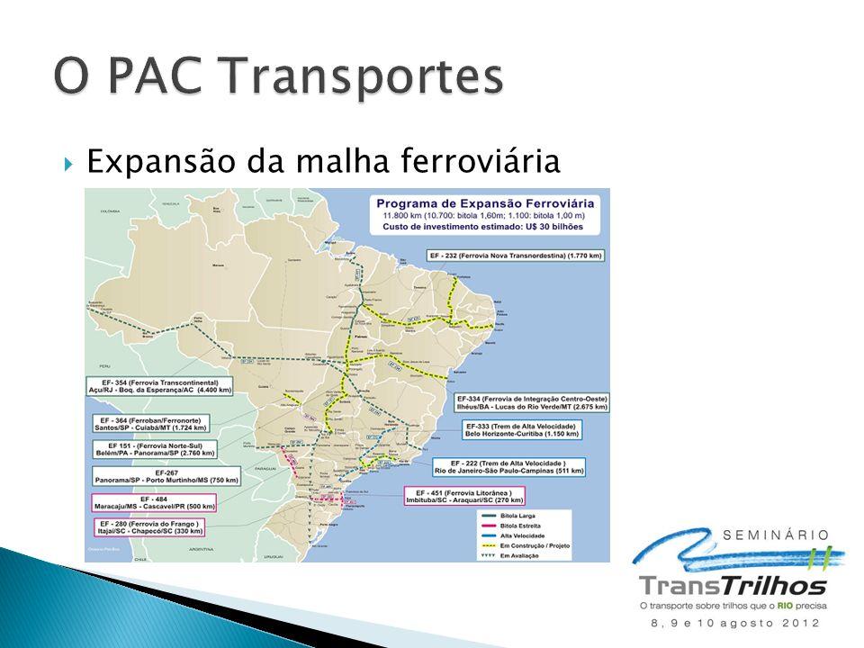 O PAC Transportes Expansão da malha ferroviária