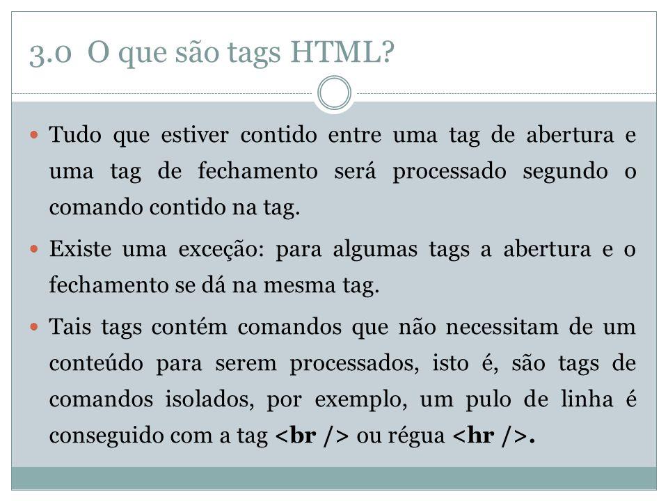 3.0 O que são tags HTML