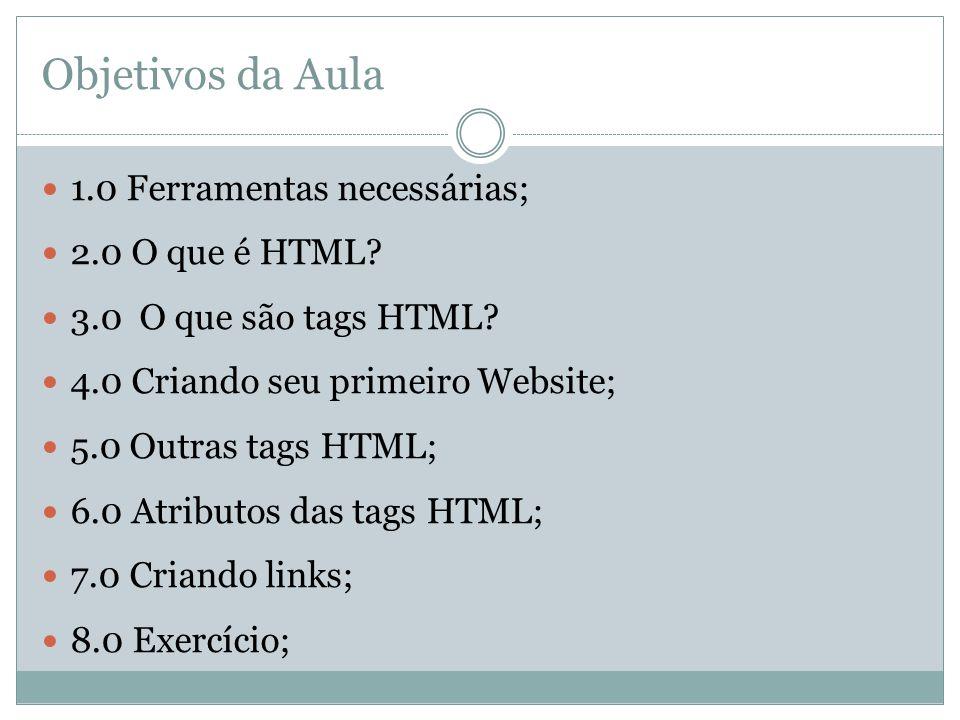 Objetivos da Aula 1.0 Ferramentas necessárias; 2.0 O que é HTML