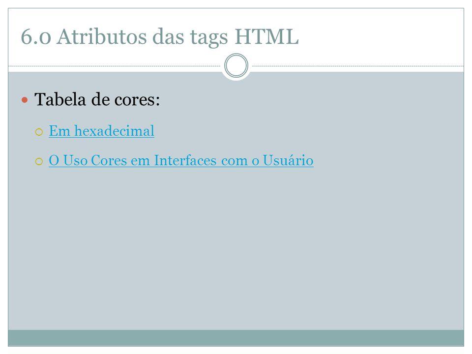 6.0 Atributos das tags HTML
