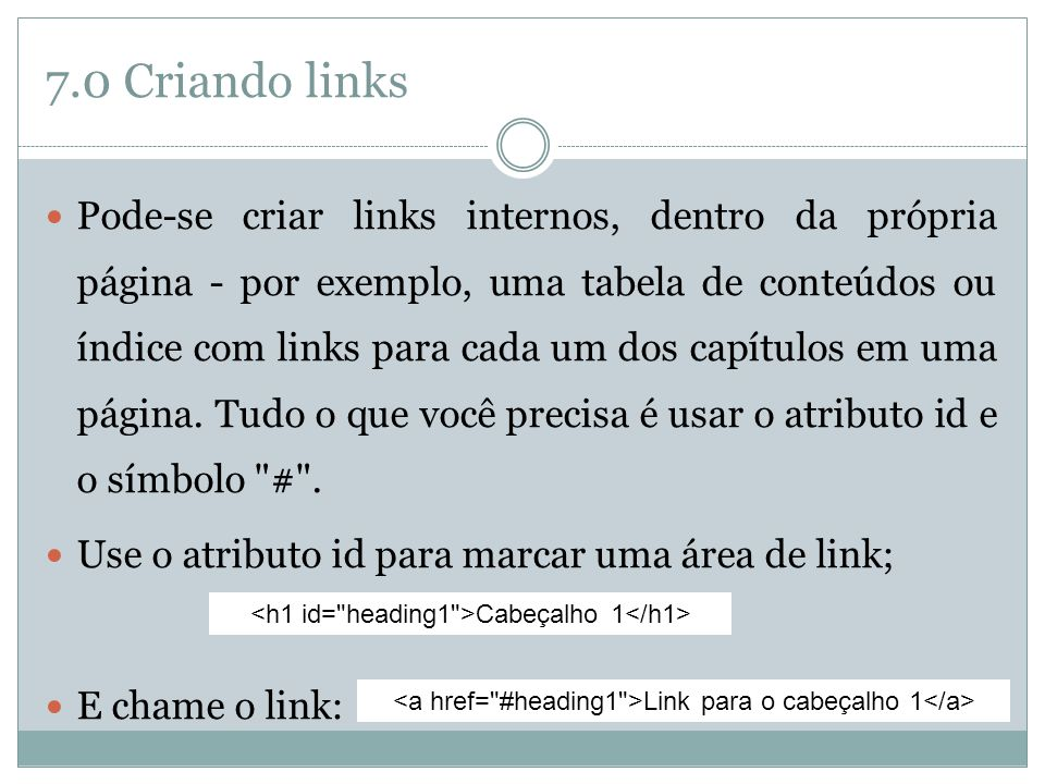 7.0 Criando links