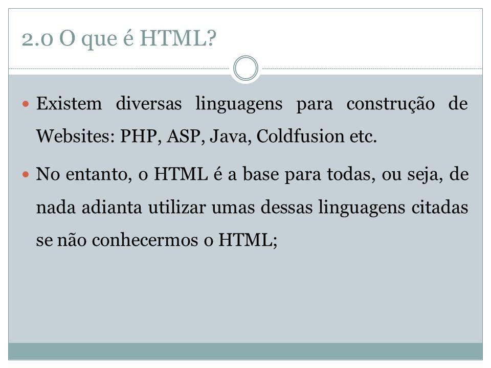 2.0 O que é HTML Existem diversas linguagens para construção de Websites: PHP, ASP, Java, Coldfusion etc.