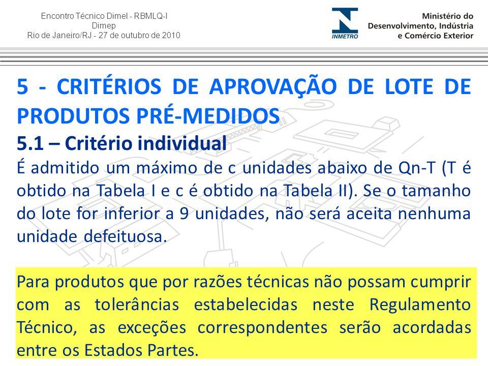 5 - CRITÉRIOS DE APROVAÇÃO DE LOTE DE PRODUTOS PRÉ-MEDIDOS